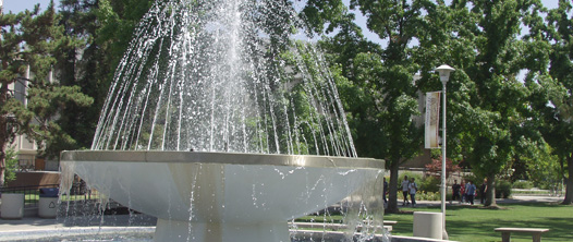 Fountain on the campus grounds