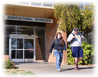 Students walking in front of Ag Sciences Building